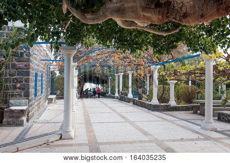 Alley in Greek Orthodox monastery of the twelve apostles in Capernaum (Cafarnaum).