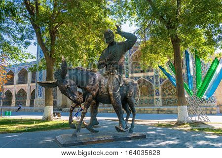 Monument  To Hodja Nasreddin In Bukhara.