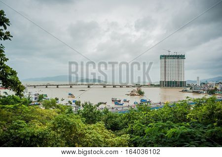 Beautiful View On Nha Trang And   Bay Of The South China Sea  Blue Sky Background In Khanh Hoa Provi