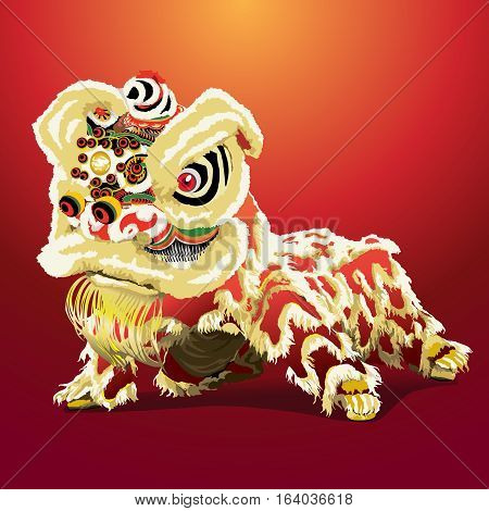 chinese lion dance cartoon in red background vector illustration