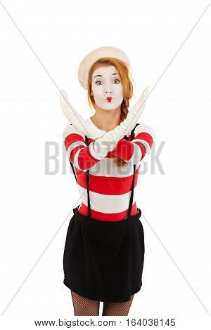 Portrait of a mime comedian showing stop, isolated on white background