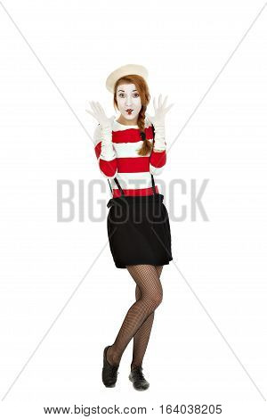 Portrait of the female mime comedian isolated on white background