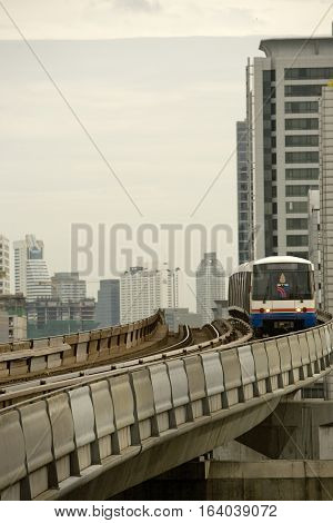 Bangkok , Thailand - August 5, 2008:  Sky train in Bangkok. The Skytrain was officially opened on 5 December 1999 by Princess Maha Chakri Sirindhorn. The system consists of 34 stations along 2 lines