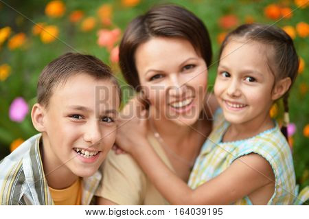 mother with her kids son and daughter