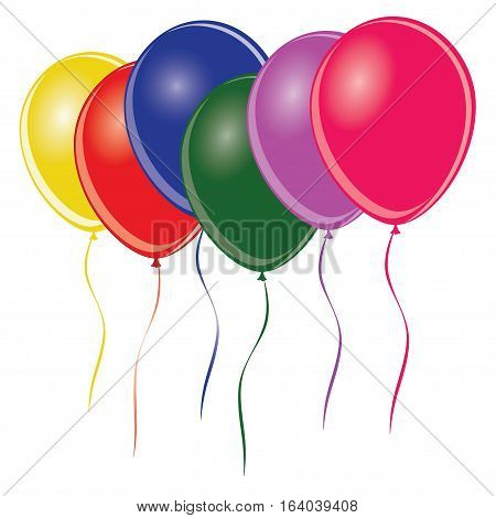 Group of multi colored balloons - vector illustration