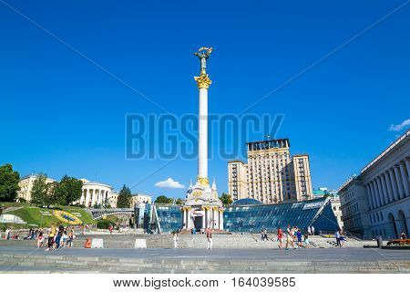 KIEV UKRAINE - JULY 30 2016: Independence Monument on the Maidan Nezalezhnosti square in Kiev Ukraine