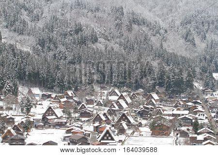 Shirakawa-Go with Snowfall Gifu Chubu Japan.The Historic Villages of Shirakawago are one of Japan's UNESCO World Heritage Sites.Shirakawago light-up with Snowfall Gifu Chubu Japan