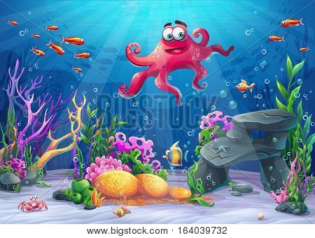 Beautiful octopus coral and colorful reefs and algae on sand. Vector illustration of sea landscape.