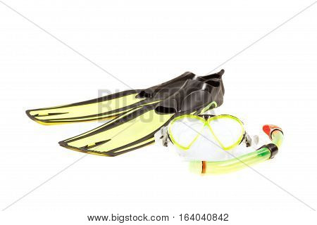 Diving mask snorkel and flippers on white background.