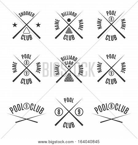 Set of nine different types of emblems billiards pool snooker isolated on white background in retro style vector illustration.