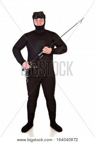 Underwater hunter man on a white background