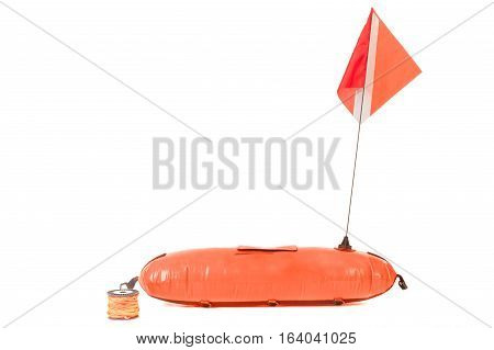 Buoy and the flag with the symbol diving. Isolated on white.