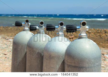 Scuba equipment on the beach. Dahab, Egypt.