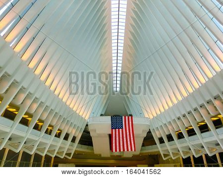 New York City, United States of America - May 01, 2016: The Oculus in the World Trade Center Transportation Hub for the PATH in New York City on May 01, 2016. It is located between 2 World Trade Center and 3 World Trade Center in Manhattan.