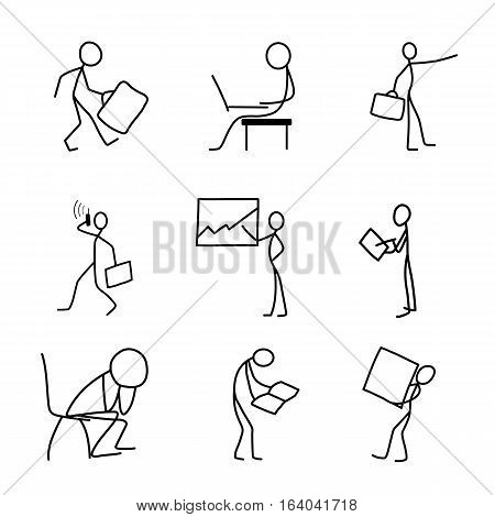 Cartoon icons set of sketch stick business figures vector people in cute miniature scenes.