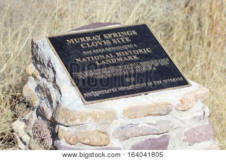 SIERRA VISTA, ARIZONA, DECEMBER 20. The Murray Springs Clovis Site Trailhead on December 20, 2016, east of Sierra Vista, Arizona. A plaque at the Murray Springs Clovis Paleoindian Site.