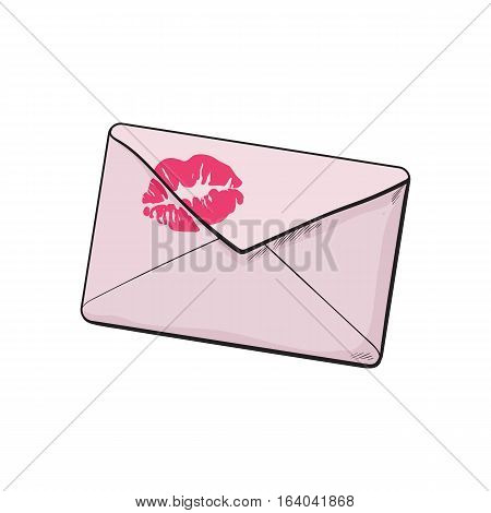 Backside of pink envelope with red lipstick kiss, sketch vector illustration isolated on white background. Hand drawing of pink colored enveloped with a lipstick kiss, love letter, romantic message