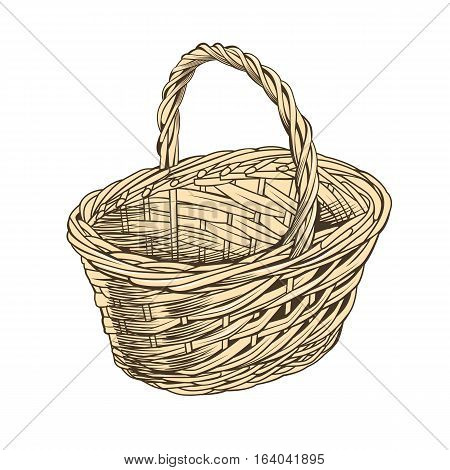 Vintage basket on white background in woodcut style.