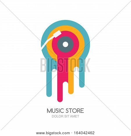 Vector music logo label or emblem design. Multicolor melted vinyl disc isolated icon. Concept for music store recording studio radio station or festival.