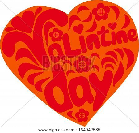 Heart with words St. Valentine's Day, a card with a congratulation, a holiday of lovers, a vector illustration, a flower a camomile,