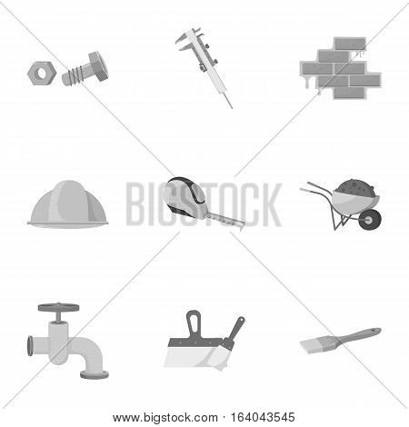 Build and repair set icons in monochrome design. Big collection of build and repair vector symbol stock illustration