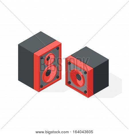 Office equipment stereo system isometric vector symbols isolated on white. Business modern illustration flat technology workstation. Cabinet tool house industry object.