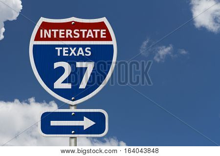 USA Interstate 27 highway sign Texas. Red white and blue interstate highway road sign with number 27 with sky background 3D Illustration