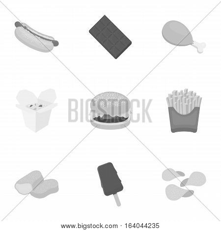 Fast food set icons in monochrome style. Big collection of fast food vector symbol stock