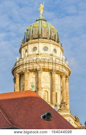 View on French Cathedral at Gendarmenmarkt square in Berlin, Germany durin winter