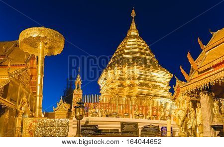 Wat Phra That Doi Suthep temple in night at Chiang Mai Province Thailand