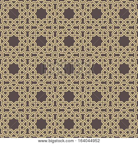 Seamless geometric pattern. Modern background with repeating elements. Brown and golden pattern