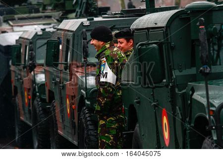 BUCHAREST ROMANIA - DECEMBER 1 2014: Military are taking part to a military parade on National Day of Romania. More than 3000 soldiers and personnel from security agencies take part in the massive parades on National Day of Romania.
