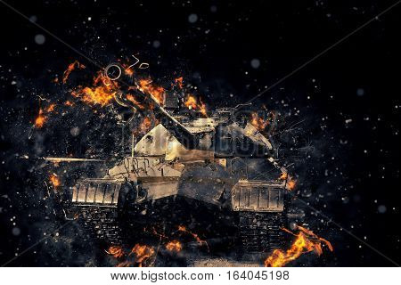 Tank blazing fire. Military conflict. Heavy armament