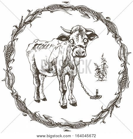 Hand drawn cow illustration in a corn frame