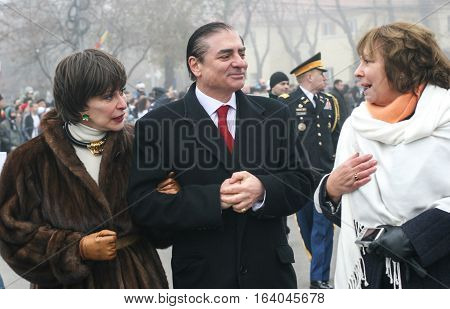 BUCHAREST ROMANIA - DECEMBER 1 2008: Prince Paul of Romania and Princess Lia are taking part to a military parade on National Day of Romania. More than 3000 soldiers and personnel from security agencies take part in the massive parades on National Day of