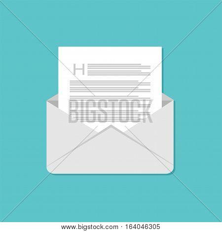 Open envelop icon. Email flat design. Email illustration.