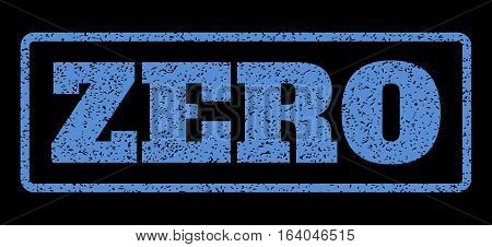 Blue rubber seal stamp with Zero text. Vector caption inside rounded rectangular banner. Grunge design and unclean texture for watermark labels. Horisontal sticker on a black background.