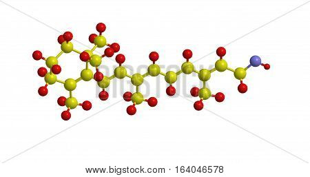 Molecular structure of all trans retinol. The compound belongs to group of A vitamins 3D rendering