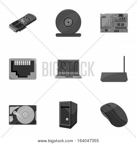 Personal computer set icons in monochrome style. Big collection of personal computer vector symbol stock