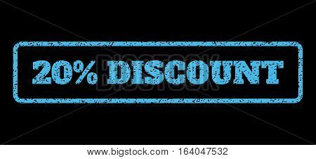 Light Blue rubber seal stamp with 20 Percent Discount text. Vector tag inside rounded rectangular shape. Grunge design and scratched texture for watermark labels.