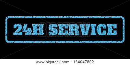 Light Blue rubber seal stamp with 24H Service text. Vector tag inside rounded rectangular shape. Grunge design and unclean texture for watermark labels. Horisontal emblem on a black background.