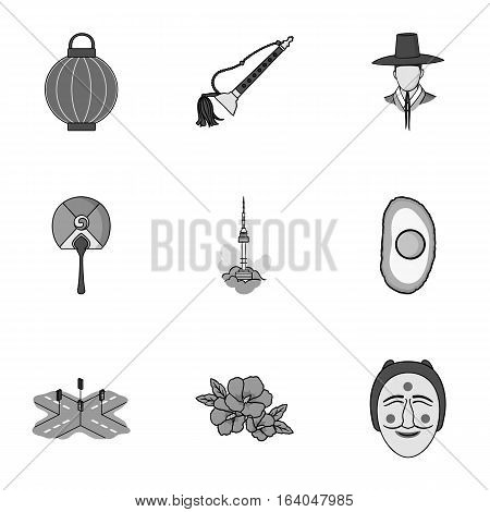 South Korea set icons in monochrome style. Big collection of South Korea vector symbol stock