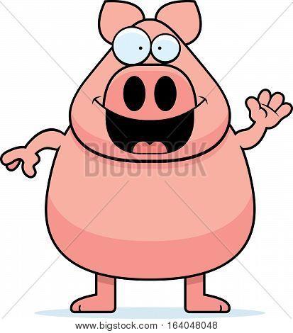 Cartoon Pig Waving