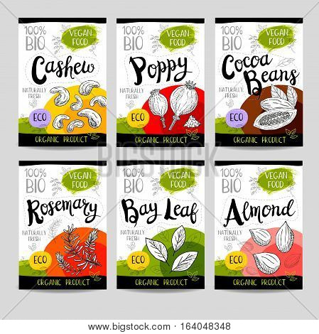 Set of colorful stickers, sketch style, food, spices, white background. Cashew, poppy, cocoa beans, almond, bay leaf, rosemary. Vegetables, farm fresh, locally grown. Hand drawn vector illustration.