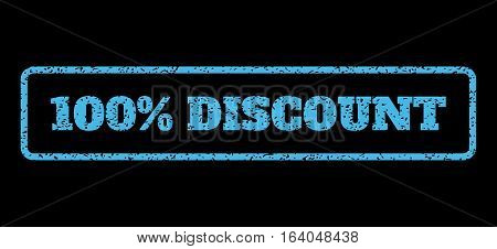 Light Blue rubber seal stamp with 100 Percent Discount text. Vector tag inside rounded rectangular shape. Grunge design and scratched texture for watermark labels.