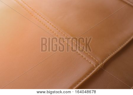 Bag Brown Leather With Seam Close Up
