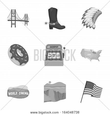 USA country set icons in monochrome style. Big collection of USA country vector symbol stock