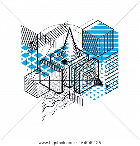 Abstract 3d shapes composition vector isometric background. Composition of cubes hexagons squares rectangles and different abstract elements.