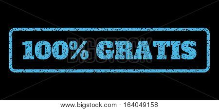 Light Blue rubber seal stamp with 100 Percent Gratis text. Vector tag inside rounded rectangular shape. Grunge design and scratched texture for watermark labels.