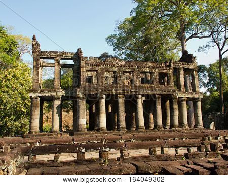 Crumbling ruins of an ancient temple chapel in Siem Reap Cambodia